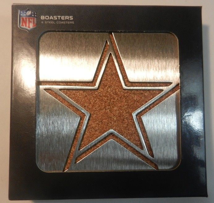 New Official NFL Dallas Cowboys Stainless Steel Cork Back Boaster Coasters Set #Sportula
