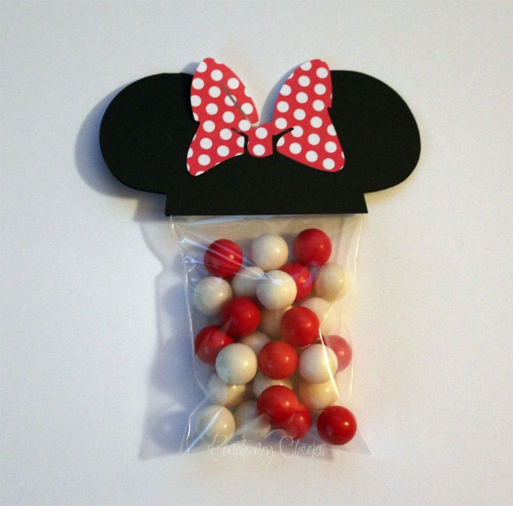 Minnie Mouse Favor Party Bags with RED POLKA DOT bow perfect for your Party Shower 18 Count. $16.00, via Etsy.