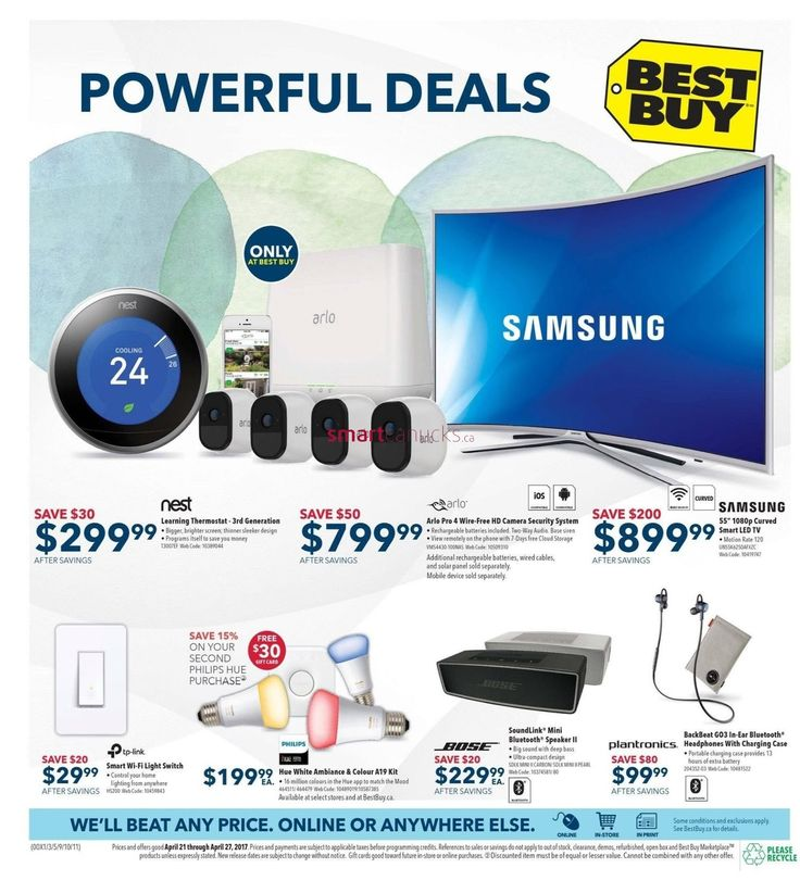 Powerful Deals Only at Best Buy, Nest Learning Thermostat 3rd Generation (Bigger, brighter screen; thinner sleeker design, programs itself to save you money) prices after savings $299.99 save $30, Arlo Pro 4 Wire-Free HD Camera Scurity System (Rechargeable batteries included. Two-Way Audio. Base siren, View remotely on the phone white 7-Days free Cloud storage) Addtional rechargeable batteries, wired cables, and solar panel sold separately. Mobile device sold separately Price $899.99 after…