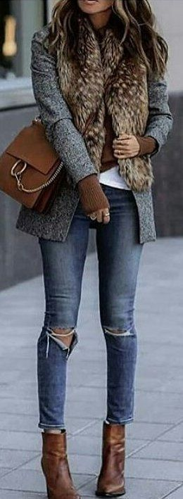 Casual Outfit Ideas | #winter #outfits grey blazer and blue-washed skinny jeans #vestswomensoutfits