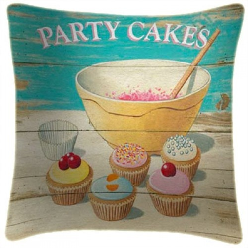 Party Cakes Cupcakes Art Print Retro Cushion Martin Wiscombe from Sarah J Home Decor. Faux Suede Cushion with Insert. $59.95