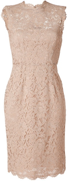 Valentino Nude Lace Dress in Beige