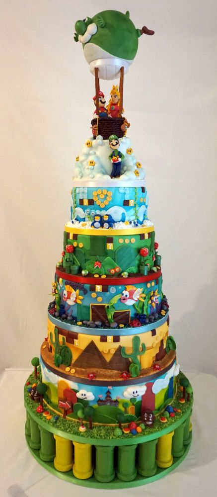 Super Mario World wedding cake