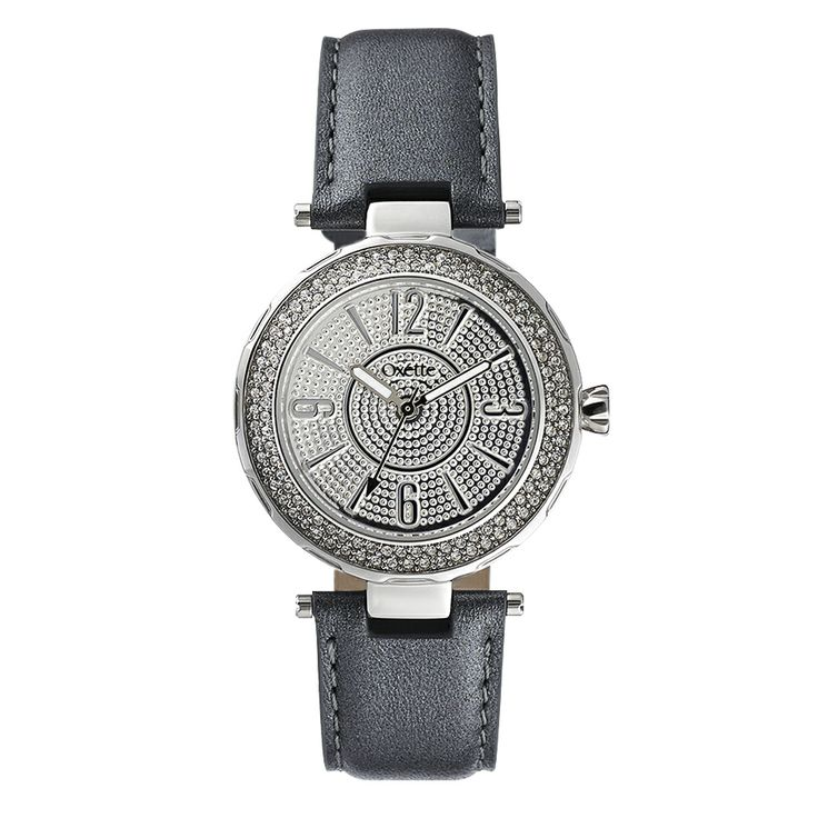 Oxette Black Couture Watch with leather band - Available here http://www.oxette.gr/rologia/s.steel-watch-2row-stones-anthrax-strap-oxette-643l-1/   #oxette #OXETTEwatch #watches