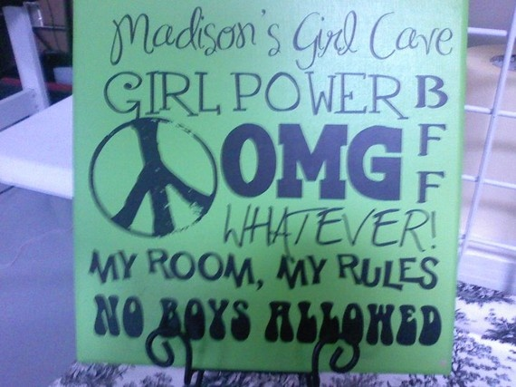 Personalized Girl Cave 12x12 sign AWESOME by vinylupyourspace