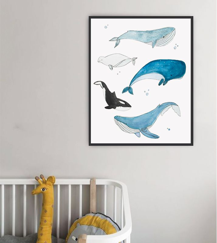 Jo Lou Design Whale Blue Sea Creatures Animals Ocean Baby Wall Decor Nursery Art Kids Print Whale Wall Art Whale Nursery Art Watercolor Whale