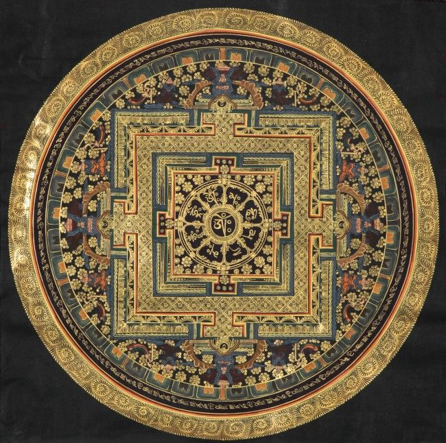 Mandala of Om Mani Padme Hum, a Tibetan Thangka Painting