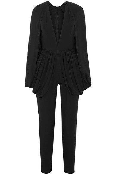 Elie Saab - Cape-effect Silk-blend Crepe Jumpsuit - Black - FR36