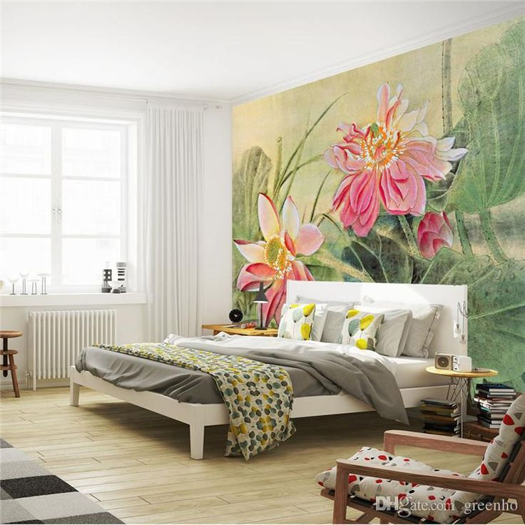 Wallpaper Design For Bedroom: Vintage Lotus Painting Photo Wallpaper 3d Flower Wall