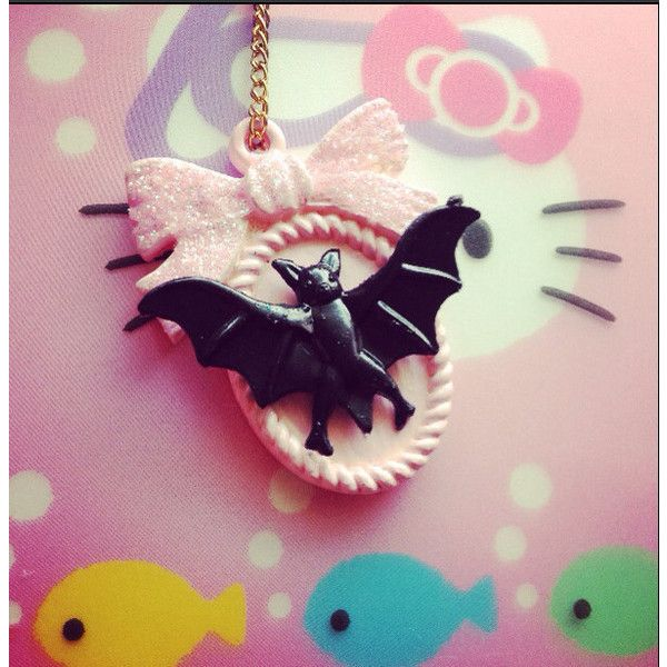 Pastel cameo necklace pendant bat pink jewelry pastel goth glitter ($14) ❤ liked on Polyvore featuring jewelry, necklaces, pendants & necklaces, bow chain necklace, pendant chain necklace, pink chain necklace and chain necklace
