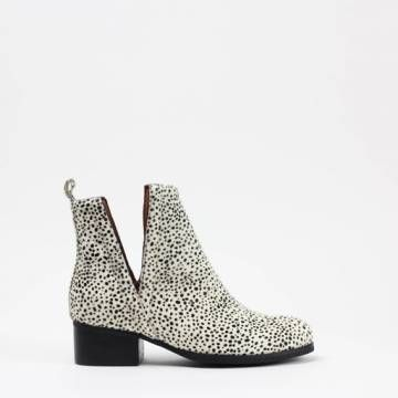 JEFFREY CAMPBELL  ORILEY  Black/White Pony Fur Ankle Boots