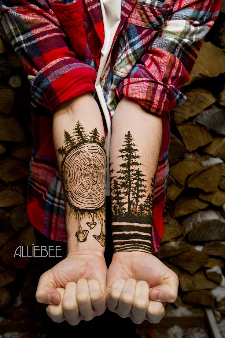 Alliebee henna, trees, mehndi, montreal, henna for men, wrists, hands, man, body paint, mushrooms, polynesian logo small