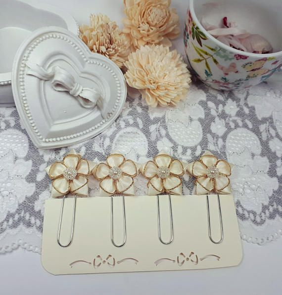 Flower planner clips ivory page clips satin ribbon planner