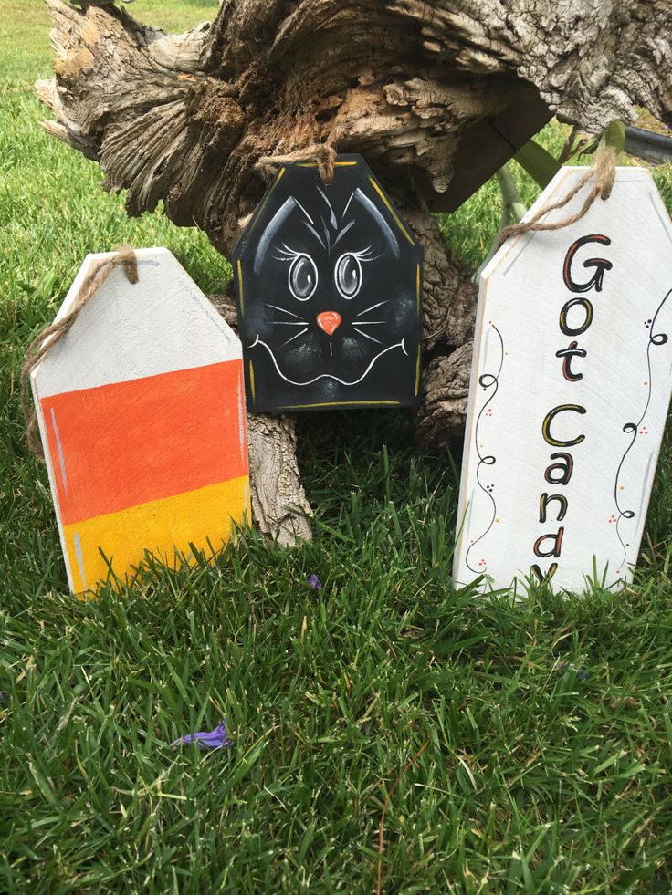 halloween fall decor candy corn and black cat got candy set of 3 wood