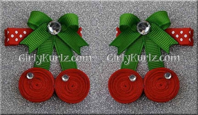 Sweet Cherry Hair Clip Cherry Ribbon Sculpture Fruit by GirlyKurlz,