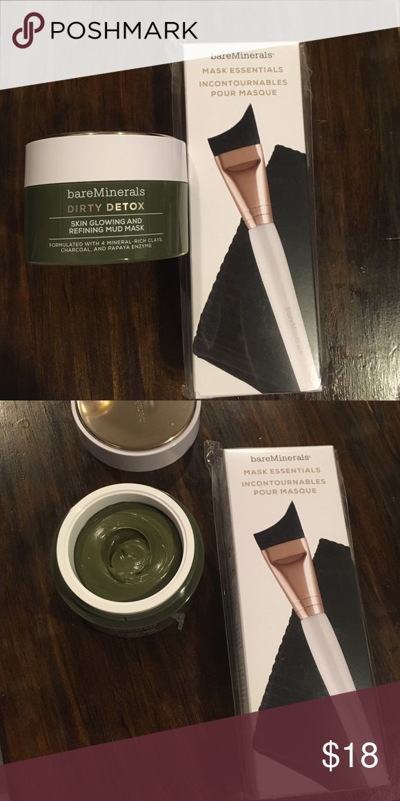 Bare Minerals Dirty Detox and mask kit Bare Minerals clay dirty detox mask that will brighten and help clear pores along with the mask essential kit.  Both never used. Bare Escentuals Makeup