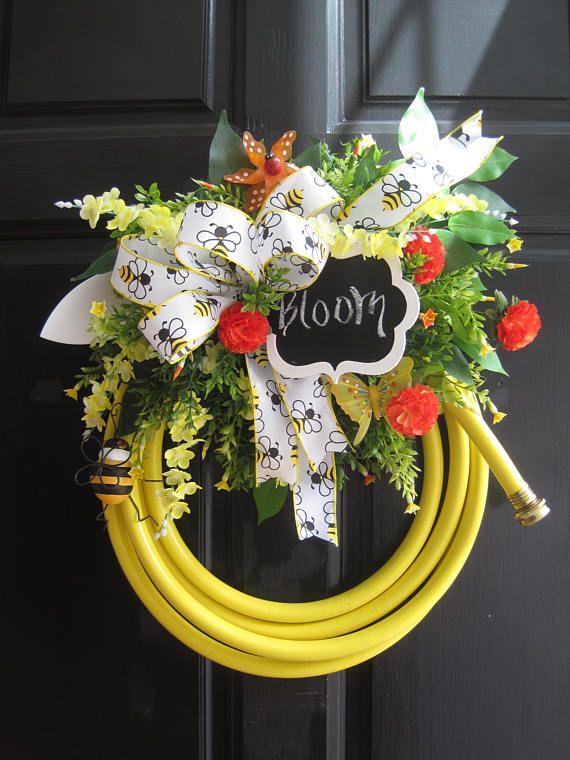 Yellow Garden Hose Wreath Gift Wreath Fun Florals Custom