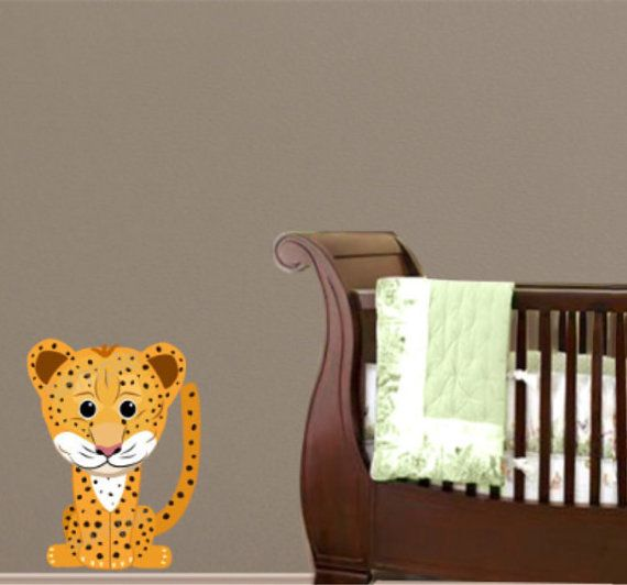 Cheetah Wall Decal Jungle Animal Nursery by PaintlessDecoDecor