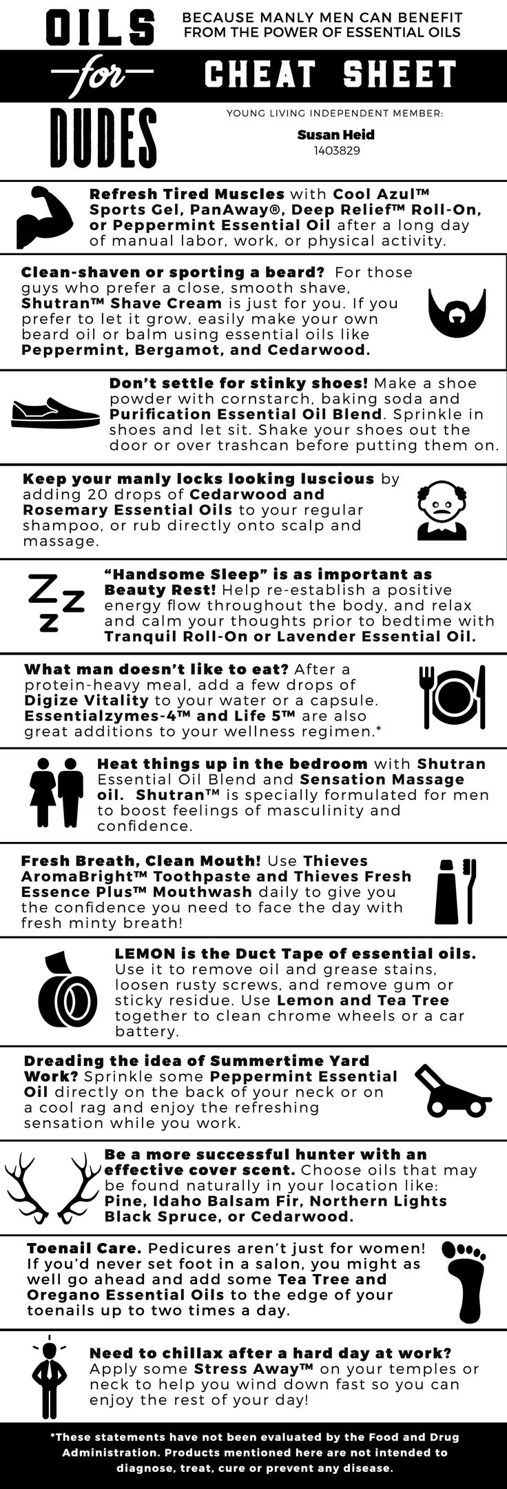 Oils for Dudes - Cheat Sheet - Young Living Essential Oils: