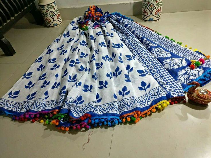 New collection of pom pom mul Cotton sarees in indigo print Now available Price:1499+shipping