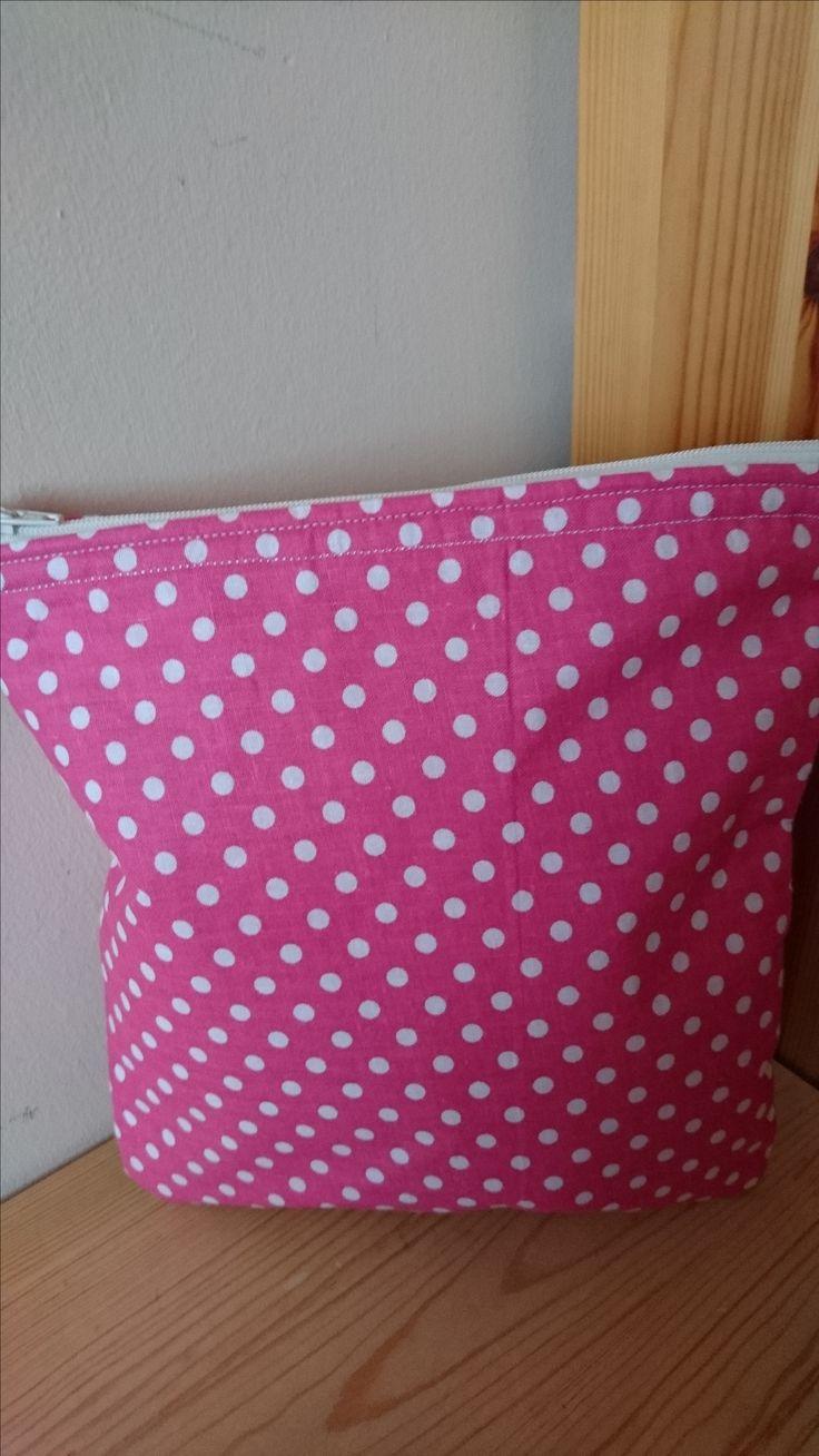 Pink & white Candy Spot Handmade Fabric Wash bag