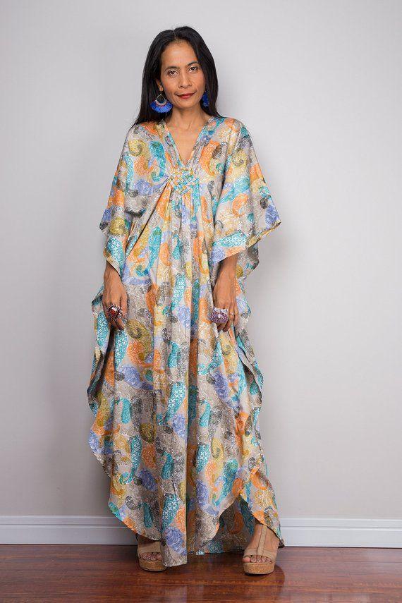 746ccb272b8 Paisley dress Kaftan Boho dress Loose fit dress Maxi dress