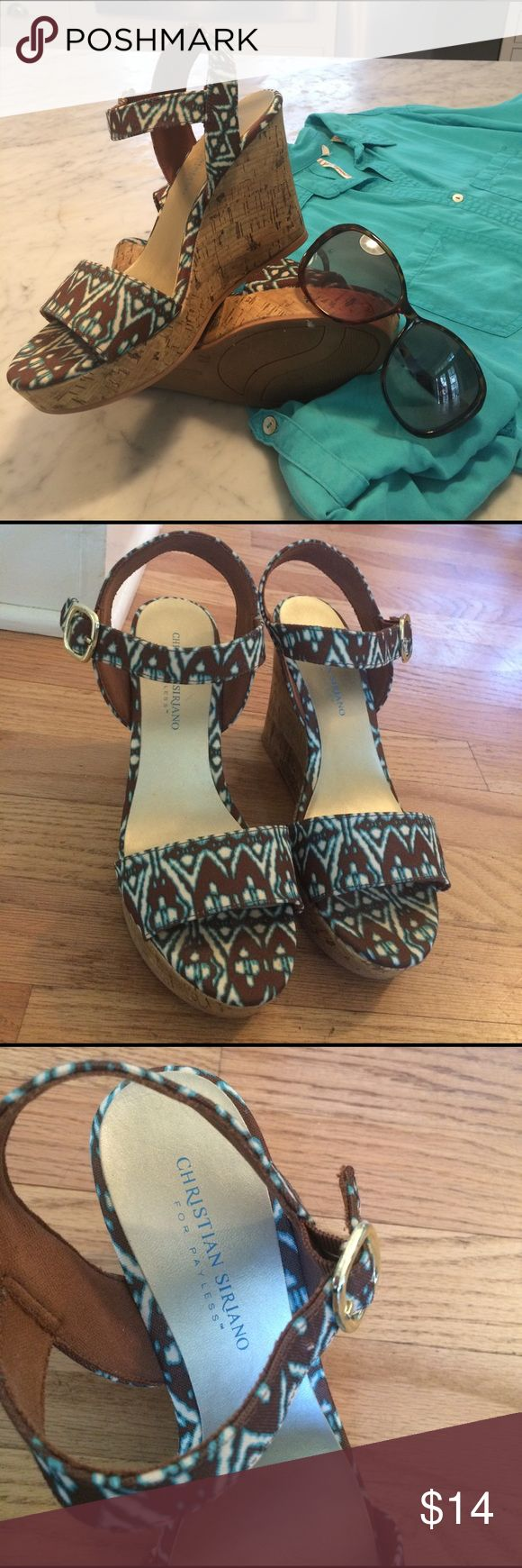 """Batik pattern platform sandals Fabulous summer outfit-maker! Brown, turquoise and white batik pattern, cork covered 4-1/4"""" heel with appx 1"""" platform at toe.  Comfortable. Worn twice, so a little wear on the soles but otherwise in EUC! Christian Siriano for Payless Shoes Wedges"""