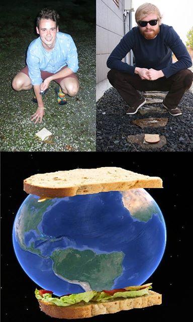Un gars en Nouvelle-Zélande et son copain en Islande ont fait le plus gros sandwich de la Terre. Apprécions l'effort de la blague.