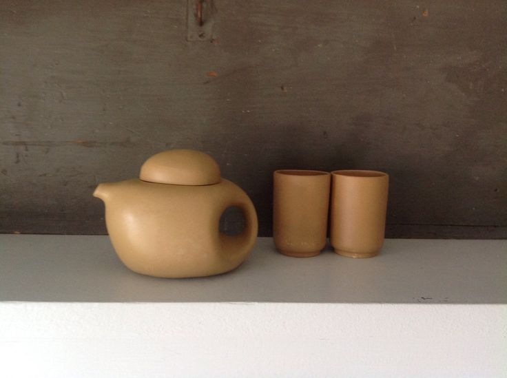 Yixing Ware Ceramic Teapot and Two Cups / Chinese Natural Clay Teapot by aniadesigns on Etsy