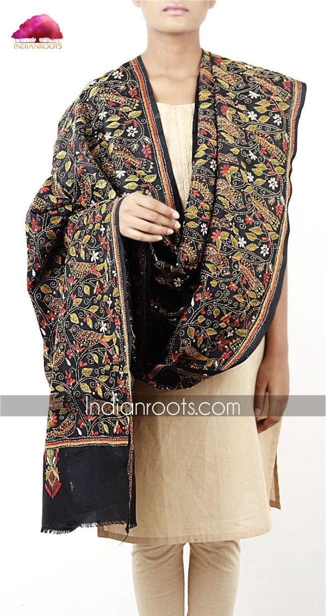 Black cotton dupatta featuring multicoloured kantha stitching on Indiana by Indianroots.com
