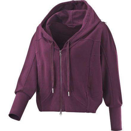Maroon hoodie by Stella McCartney for Adidas. Loose fit with batwing sleeves.