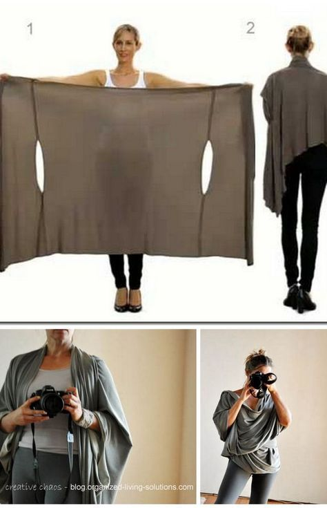 I need someone to make this for me! Would be great for traveling. DIY Two Tutorials for the Bina Brianca Wrap. It can be worn as a scarf, cardigan, poncho, blouse, shrug, stole, turtleneck, shoulder scarf, back wrap, tunic...