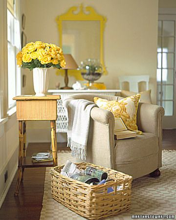 really liking rooms with touches of yellow - so bright