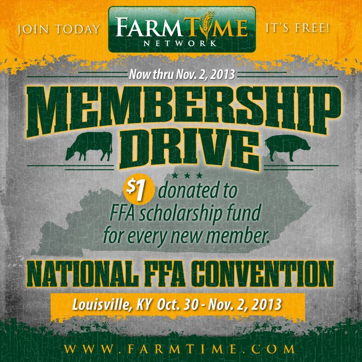 FarmTime.com Membership Drive!  Join FarmTime.com now thru November 2, 2013 and $1.00 will be donated to FFA Scholarship Fund for each new member! #FFA #NationalFFA #Scholarship #agriculture #farming #farm #ranch