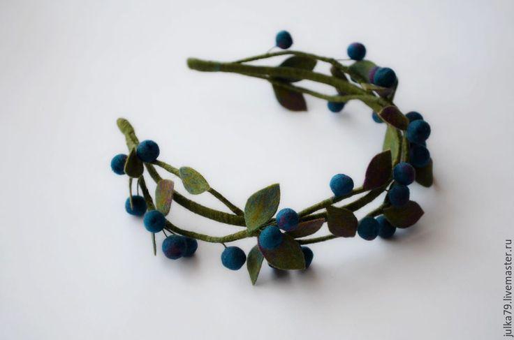 Купить Ободок терновник 2 - синий, ободок для волос, ободок, ободок для девочки, украшение
