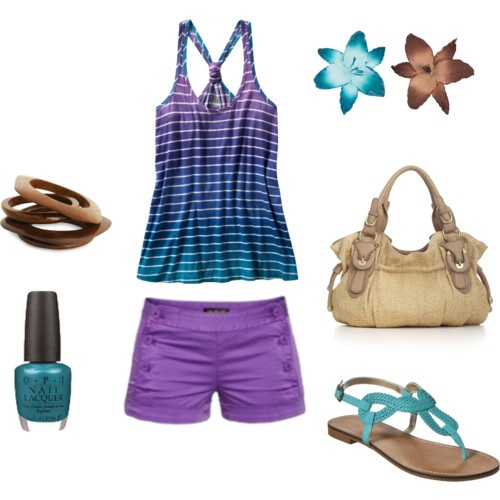 Purple and teal summery outfit.