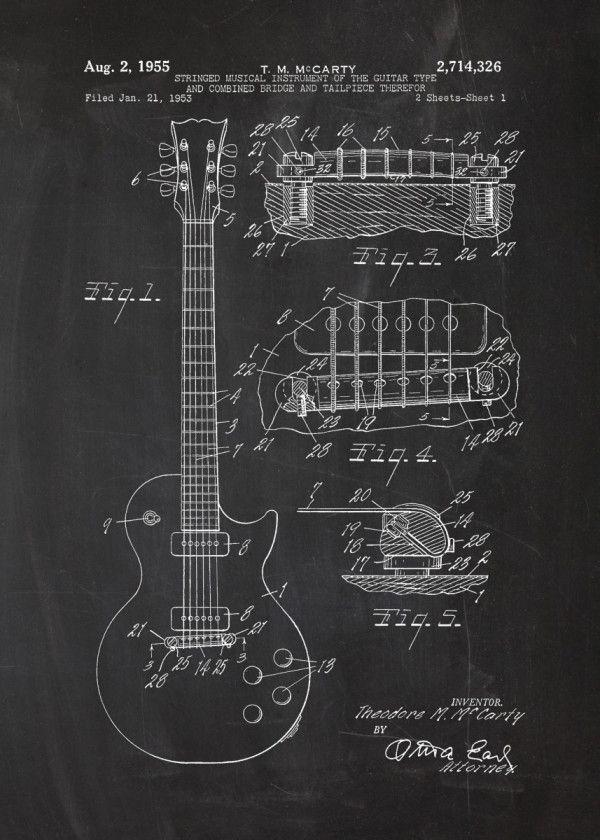 1953 Electric Guitar Patent Music Poster Print Metal