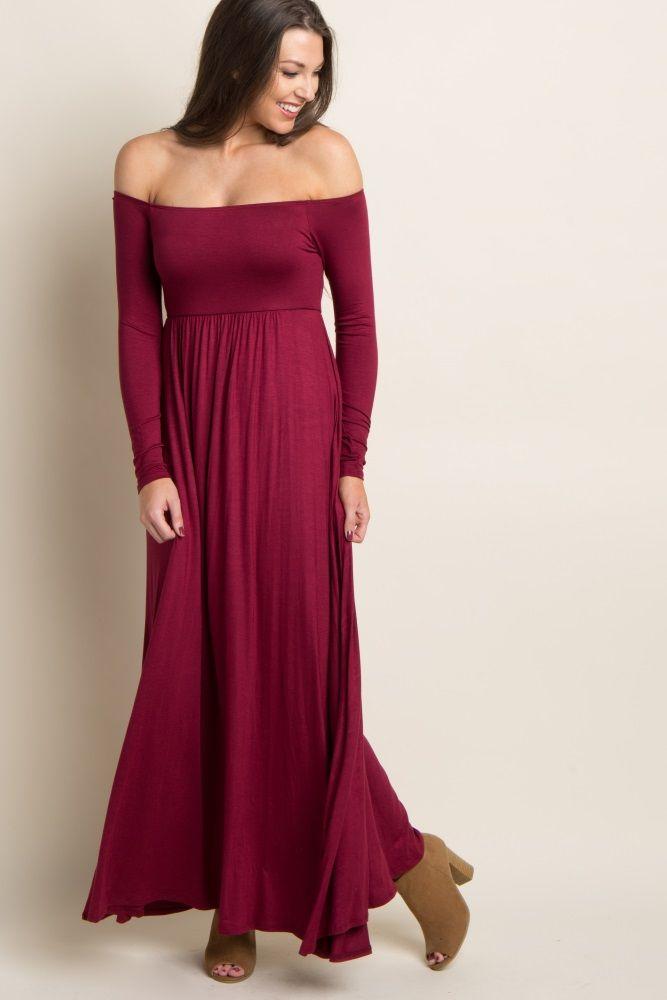 841bc4fe1f89 Burgundy Solid Off Shoulder Maxi Dress