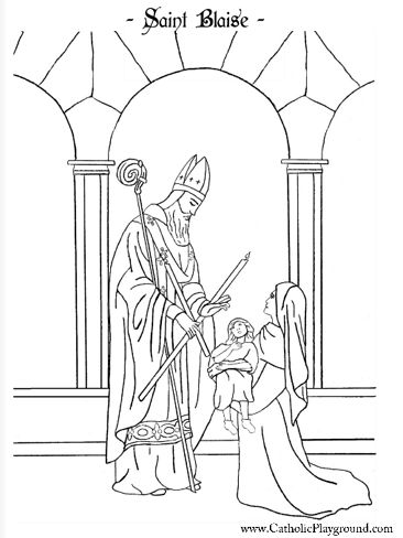 Beautiful Saint Blaise Catholic coloring page.  Feast day is February 3rd