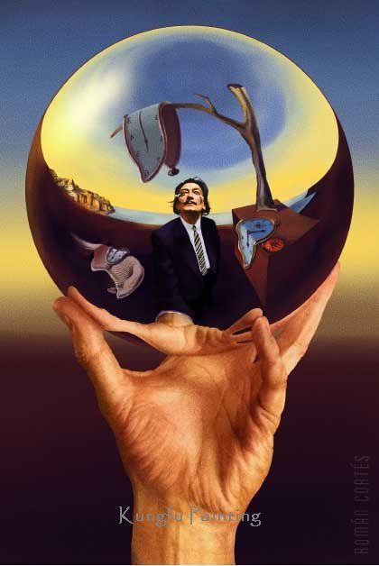 100% hand painted salvador dali painting Dali Does Escher wall art canvas high quality