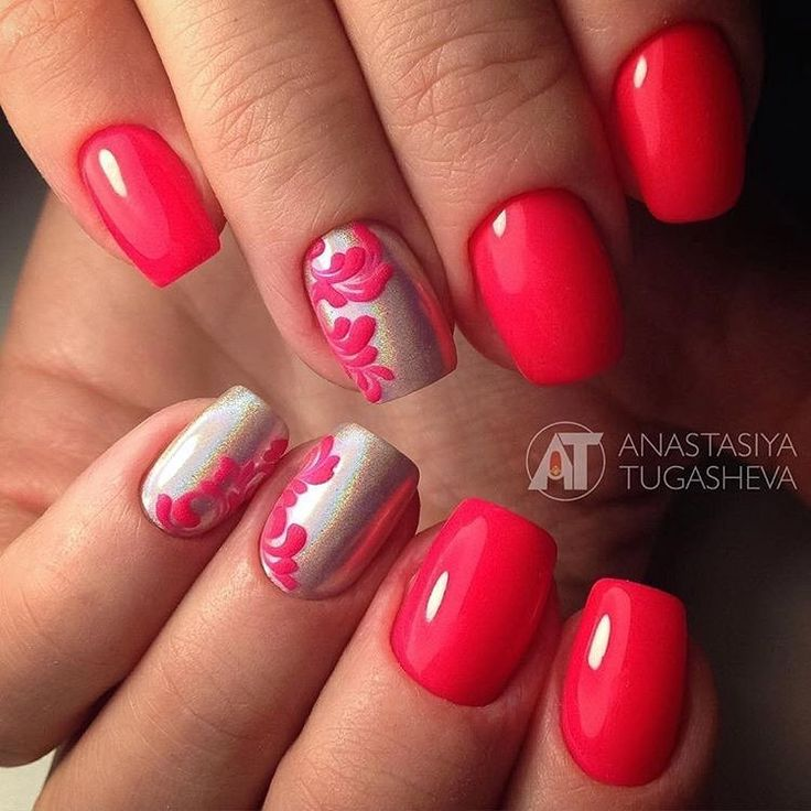 Autumn nails, Beautiful red nails, Evening dress nails, Evening nails, Medium nails, Monogram nails, Nails ideas 2017, New year nails ideas 2017