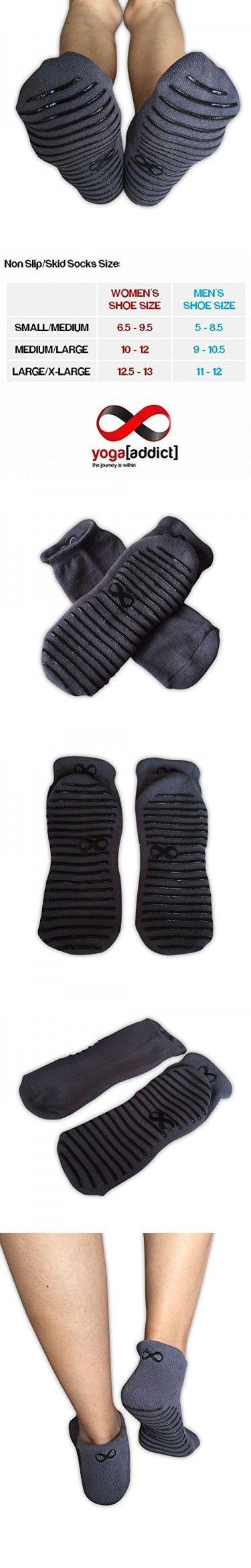 Non Slip Socks, Grey (Black Grippy Lines) - Size L/XL