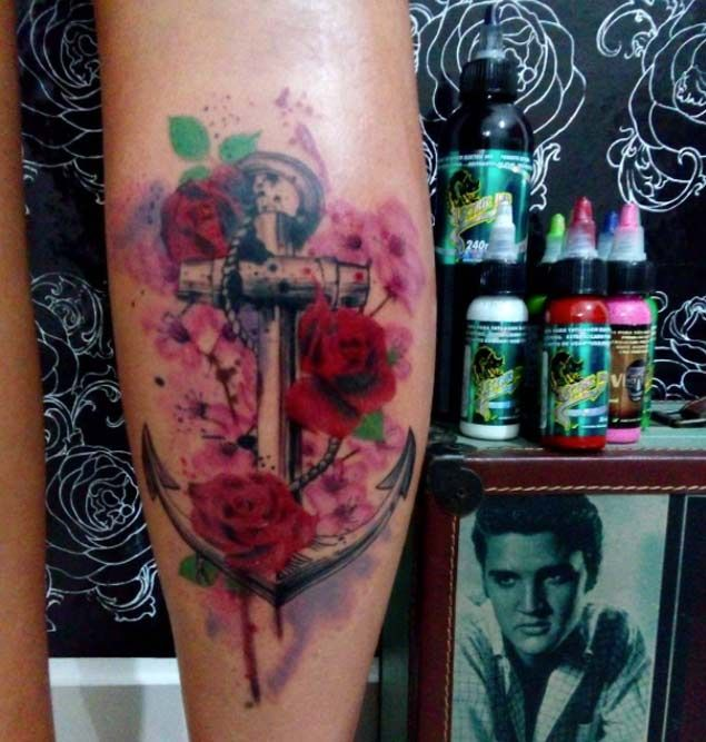 Anchor Flowers Tattoo by Vanessa Marins