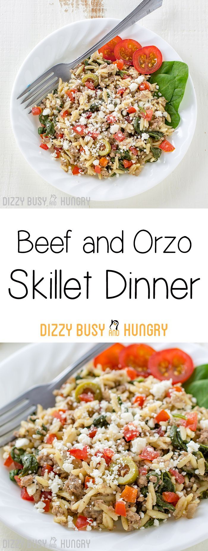 Beef and Orzo Skillet Dinner   DizzyBusyandHungry.com - If you like easy ground beef recipes you can make in one pan, you will love this hearty and delicious Beef and Orzo Skillet Meal!