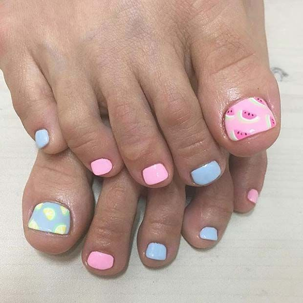 Cute Pastel Pink and Blue Toe Nail Design