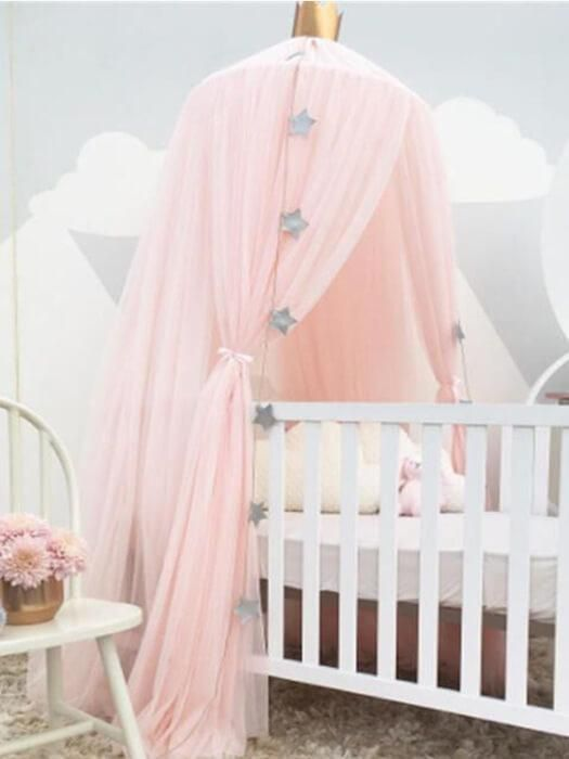 Mother & Kids Kids Baby Bedding Round Dome Bed Cotton Canopy Netting Bedcover Mosquito Net Curtain Play Tent For Children Plush Ball Lace Net Perfect In Workmanship