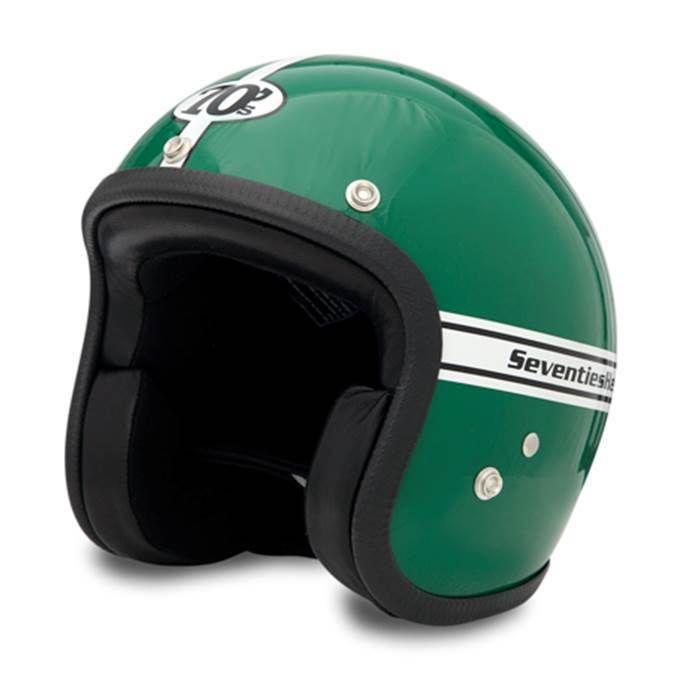 Green 70's vintage helmet. Very nice retro open face helmet.