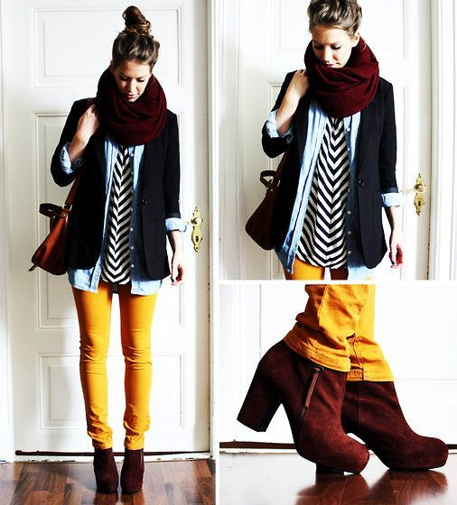 Mustard Yellow Jeans paired with a Chevron Blouse under a Jeans Button Up, under a Navy Blazer; with maroon scarf & brown