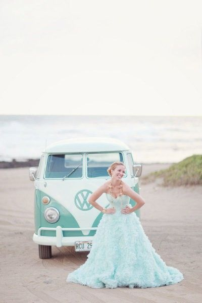 Until I saw these photos I would never have thought pale aqua would work as a wedding dress colour. Bridesmaid's dresses definitely, but not...