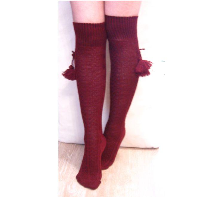 Knee socks Women socks Long socks Ethnic socks Claret red socks Fashion socks School socks Ladies socks Cotton socks Girl socks Sexy socks (10.50 USD) by Jodomfogo